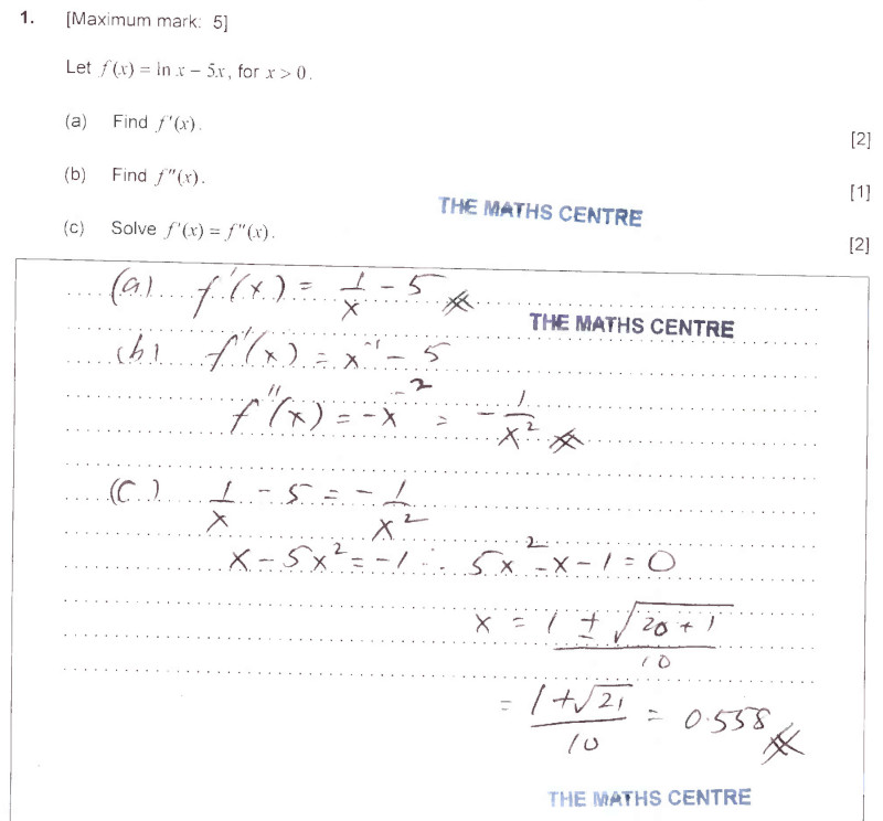 Free Preview: IB Maths SL exams fully worked solutions - The Maths