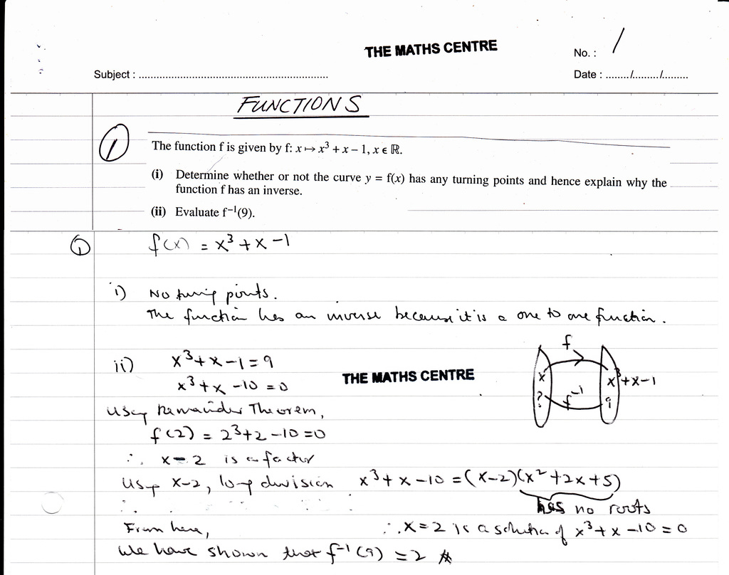 functions  igcse year  revision questions  the maths centre functions  igcse year  revision questions