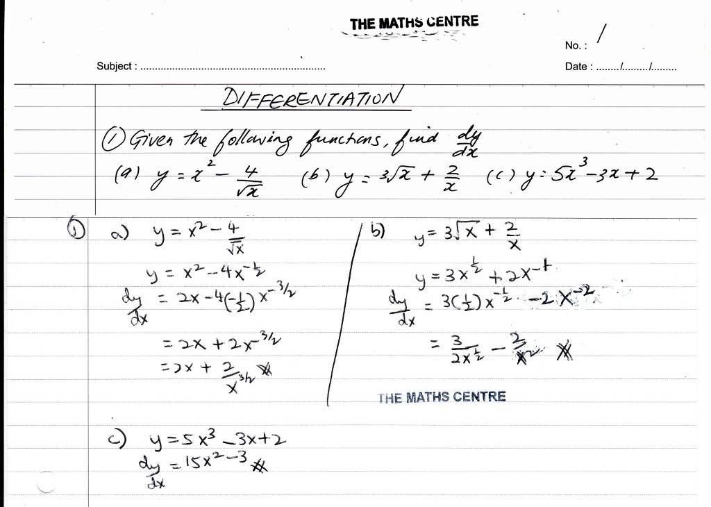 Differentiation - IGCSE Year 11 revision questions - The Maths Centre
